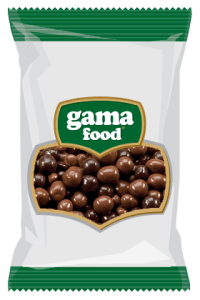 Chocolate-coated nuts, choco-crispy and caramel bars in a package from gama Food manufacturer
