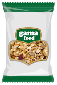 Cornflakes and mueslis in a package from Gama Food manufacturer