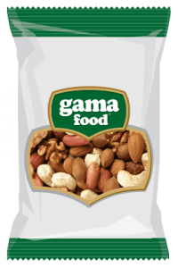 Raw nuts, roasted nuts and dried fruits in a package from Gama Food
