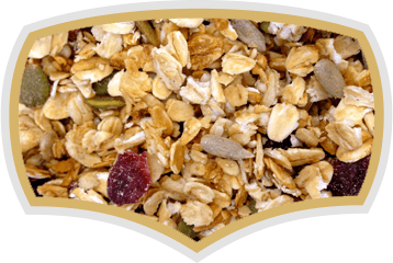 Fruit muesli, chrunchy muesli, natural muesli. Gama Food