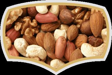 Raw and roasted nuts - almonds, hazelnuts, peanuts. Gama Food