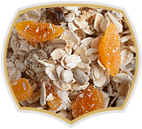 Muesli with yellow fruits. Gama Food