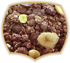 Chocolate crunchy muesli with banana. Gama Food