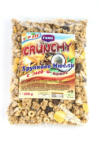 Gama Food Honey crunchy with coconut chips 350 gr