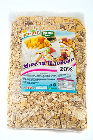 Gama Food Muesli with 20% fruits 450gr