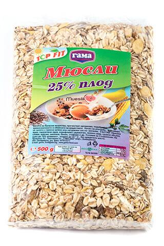 Мюсли с 25% плодове 500 гр., Gama Food