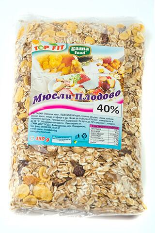 Мюсли с 40% плодове 450 гр., Gama Food