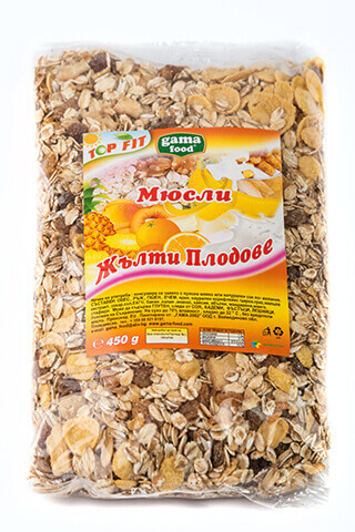 Gama Food Muesli with yellow fruits 450 gr